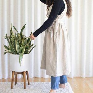 ICHI ANTIQITES 100% natural linen tie wrap dress